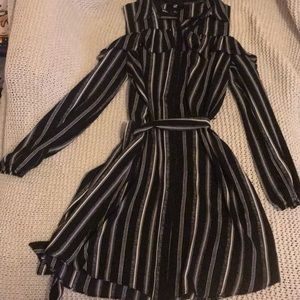 Open shoulder striped black and white dress